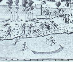 Men fishing in the Arno in their underwear