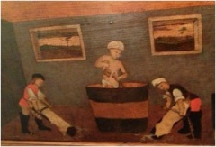 A tanner in a vat of urine (from the tanners' guild picture at the Correr Museum, Venice)