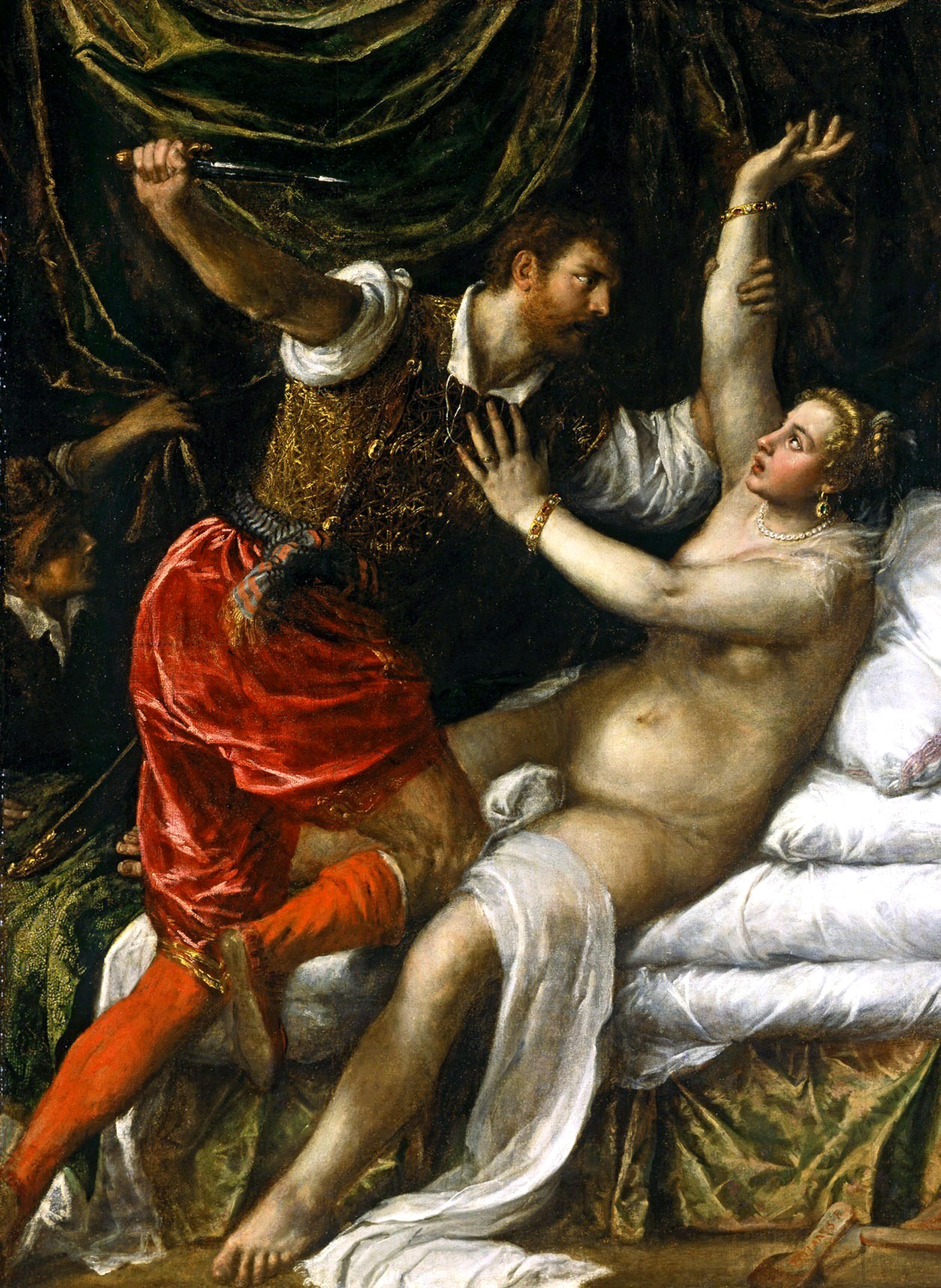 Titian, Tarquin and Lucretia. Oil on Canvas, 88.9 cm × 145.1 cm. Fitzwilliam Museum, Cambridge, UK.
