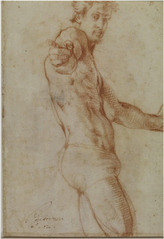 Pontormo self portrait wearing only underwear, pointing out to viewer.